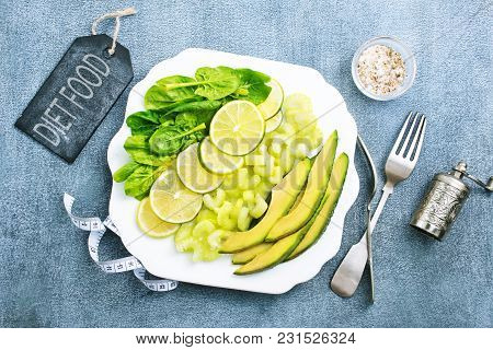 Slice Of Fresh Lime And Avocado