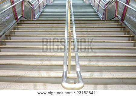 Close Up Stairways With Steel Handrails At The Sky Train Station In Thailand