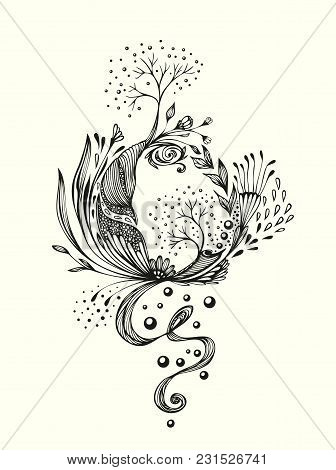 Abstract World With Trees Flowers Leaves Petals  Black On White. Symbolic Composition.  Metamorphosi