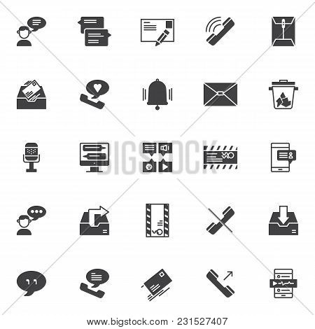 Dialogue Vector Icons Set, Modern Solid Symbol Collection, Filled Style Pictogram Pack. Signs Logo I