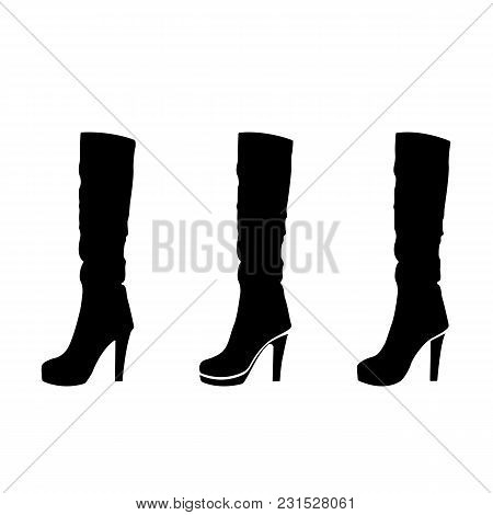 Silhouette Of Woman Shoes, Set Of Vector Icon. The High-heeled Boots In A Different Style. Black On