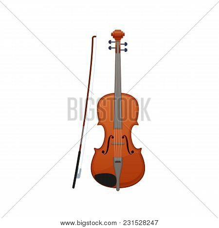 Realistic Wooden Musical Violin, With A Wand For Playing On It. A Beautiful Carved Classical Musical
