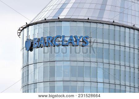 Vilnius, Lithuania - April 15, 2018: Barclays Office In Vilnius On April 15, 2018. Barclays Is A Bri
