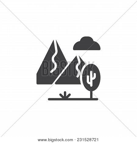 Rocky Landscape With Mountains, Tree And Cloudy Sky Vector Icon. Filled Flat Sign For Mobile Concept