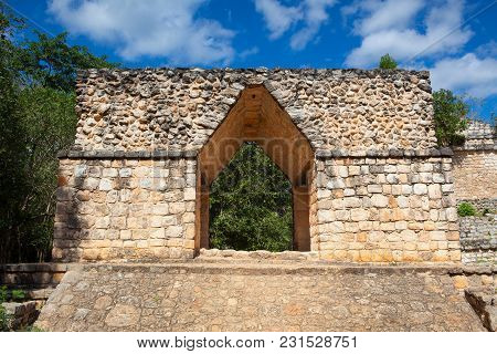 Majestic Ruins In Ek Balam. Ek Balam Is A Yucatec-maya Archaeological Site Within The Municipality O