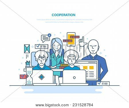 Cooperation, Partnerships, Teamwork With Colleagues, Interaction Among Themselves, Coworking And Col