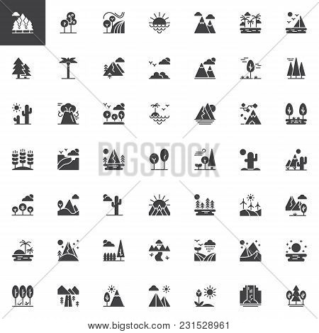 Nature Landscapes Vector Icons Set, Modern Solid Symbol Collection, Filled Style Pictogram Pack. Sig