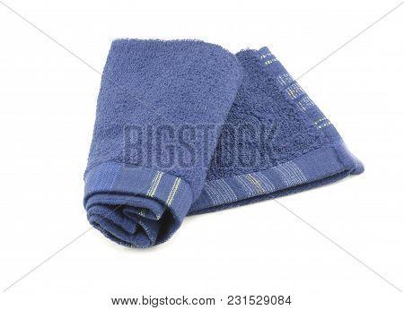 Image Of Blue Towel Isolated White Background