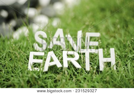 Closeup Images Of Capital Alphabet And Form Word Save Earth Laying On Green Grass. Blurred And Bokeh