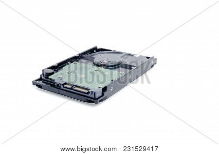 Image Of Old Hard Disk Agains White Background
