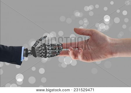 Digital composite of human and robot hand