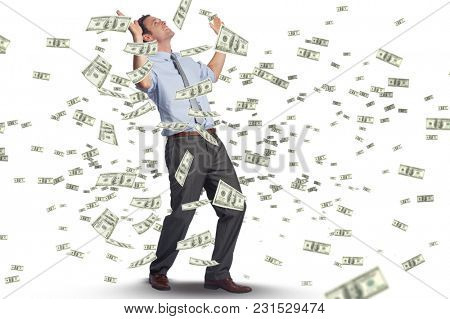 Digital composite of business models with falling money 6
