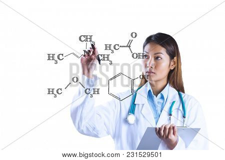 Digital composite of doctor drawing on screen