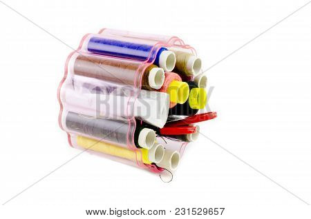 Set Of Basic Sewing Kit With Colorful Threads Isolated White Background