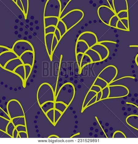 Floral Seamless Pattern With Hand Drawn Leaves On Dark Background. Vector Illustration For Design Am