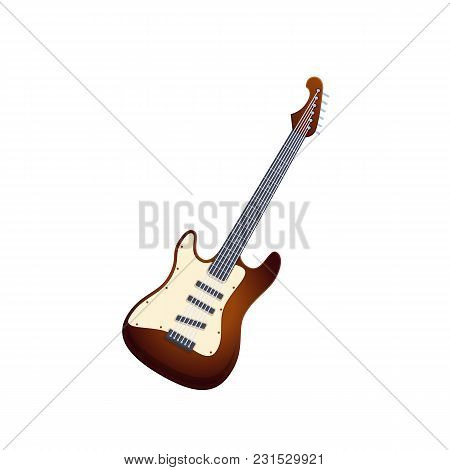 Wooden Guitar, Traditional String Musical Instrument. Holiday, Music On Electronic Guitar. Carnival,