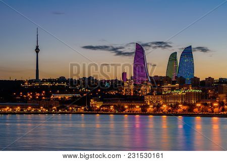 Baku, Azerbaijan - February 23, 2017: Night View Of Baku With The Flame Towers Skyscrapers, Televisi