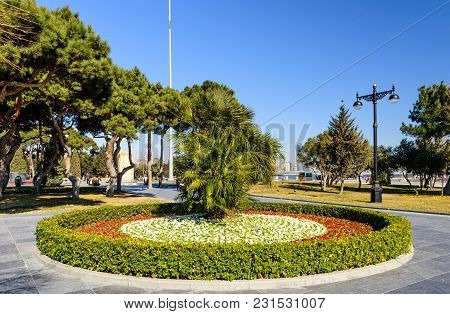 Baku, Azerbaijan - February 24, 2017: A Beautiful Flowerbed In The City Park In The Center Of Baku.