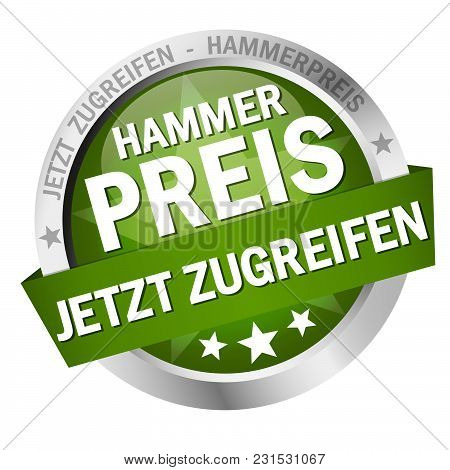 Round Colored Button With Banner And Text Special Price Offer (in German)