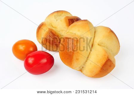 Traditional Austrian Easter Pinze (pincas) Isolated Over White Background
