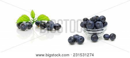 Ripe Blueberries On White Background. Horizontal Photo.