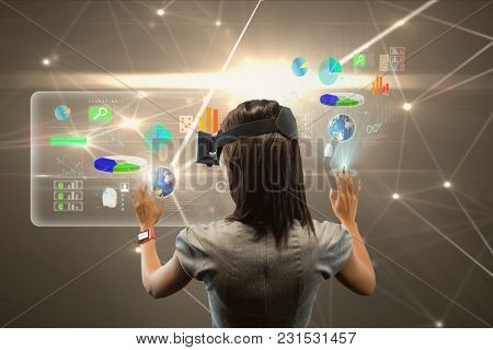 Digital composite of lady with virtual reality headset