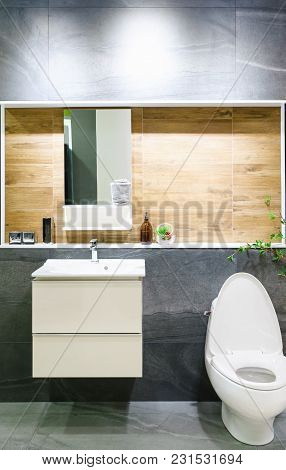 Modern Spacious Bathroom With Bright Tiles With Toilet And Sink. Side View