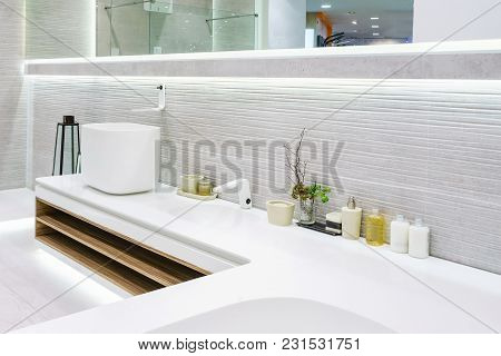 Bathroom Interior In Luxury Home With Marble Tile Floor, Marble Tile And Wall, Fancy White Cabinets,