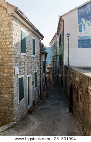Herceg-novi, Montenegro - September 8: Old Building In Montenegro With Windows And Shutters In The E