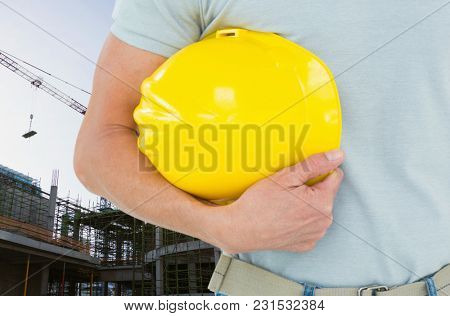 Digital composite of architect in construction site