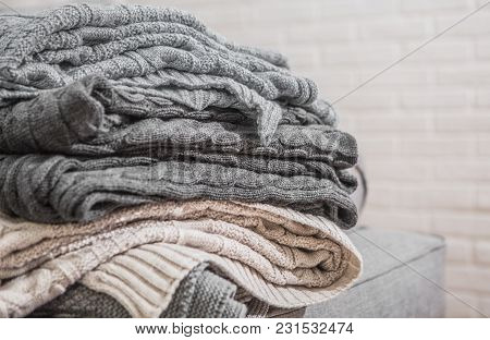 Plaid Textured Gray Beige Stacked In A Pile