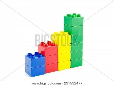 Success Achievement Concept. Plastic Building Blocks Isolated White Background