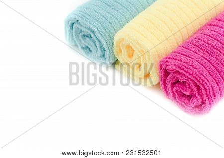 Image Of Colorful Towel Rolled Isolated White Background