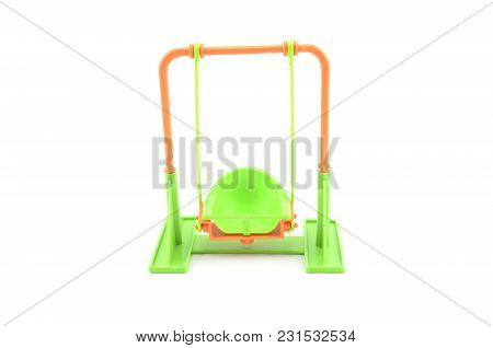 Green Color Swing Toy On White Background