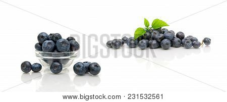 Blueberries Isolated On White Background. Horizontal Photo.