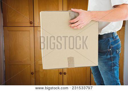 Digital composite of delivery man inside room
