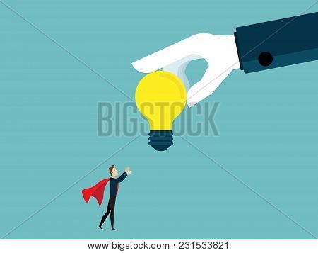 Illustration Of Businessman Receiving Big Bulb Idea From Big Helping Hand Business Teamwork Concept