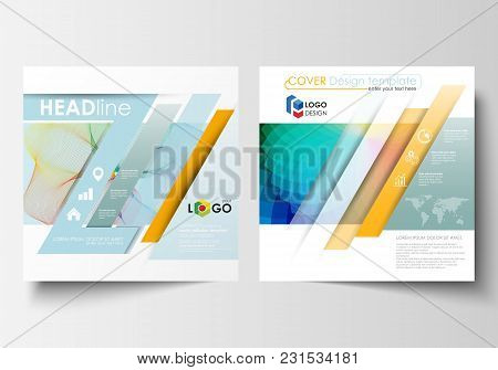 Business Templates For Square Brochure, Magazine, Flyer, Annual Report. Leaflet Cover, Flat Layout,