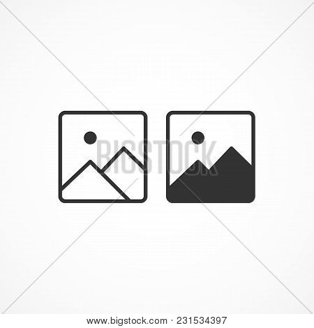 Vector Image Of Photo Icon On A Gray Background.