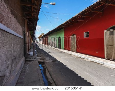 Colorful Street In Managua City On Clear Sunny Day Nicaragua