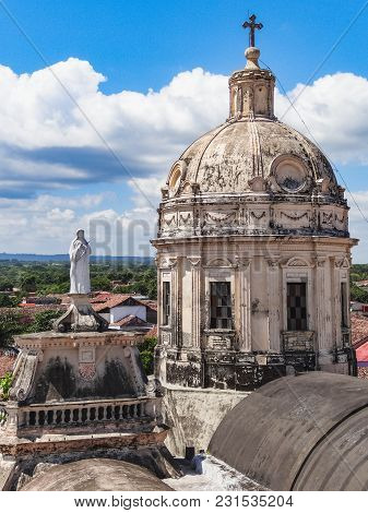 Old And Famous Cathedral Of Managua In Nicaragua October