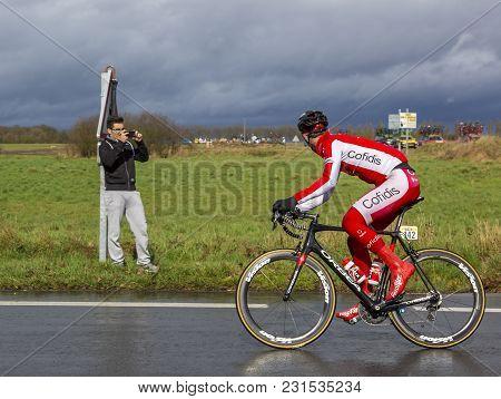 Cernay-la-ville, France - March 5, 2017: The Belgian Cyclist Dimitri Claeys Of Cofidis Team Looking