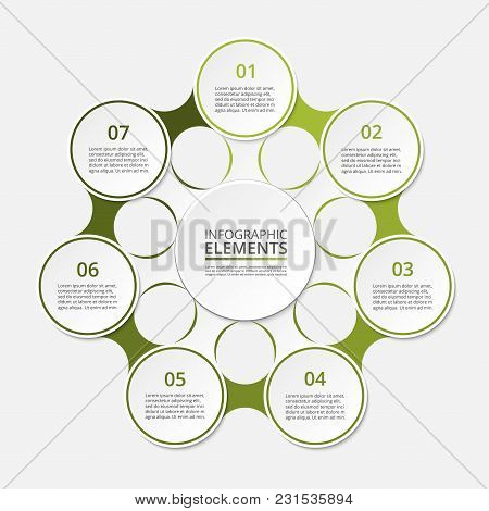 Step By Step Infographic. Template With 7 Numbers Can Be Used For Workflow Layout, Diagram, Chart, N
