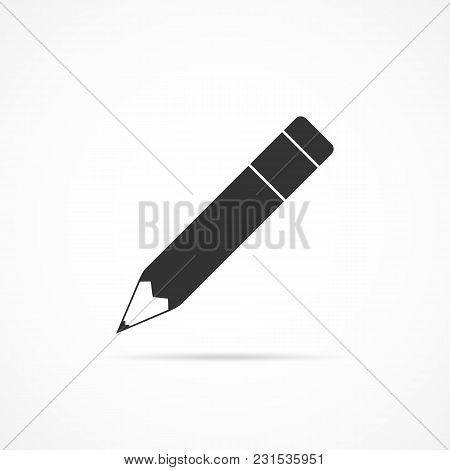 Vector Image Of A Pencil Icon On A Gray Background.