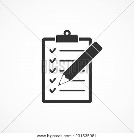 Vector Image Of A Clipboard And Pencil Icon.