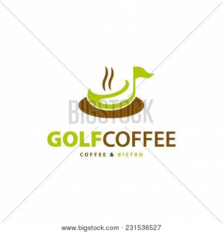 Coffee Cup With Flag. Golf Bistro Symbol. Vector Illustration
