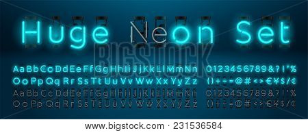 Mega Huge Neon Set Glowing Alphabet With Upper And Lowercase Letters, Vector Font. Glowing Text Effe