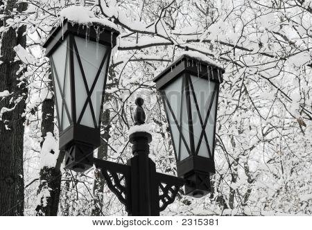 Snow - A Lantern - An Icicle.