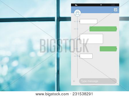 Digital composite of Messaging Social media App Interface by window