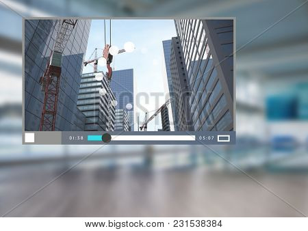 Digital composite of City Video Player Architecture App Interface